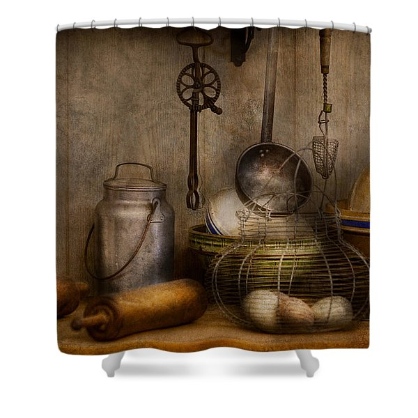 Chef - Ingredients - Breakfast and grandpa's Shower Curtain by Mike Savad