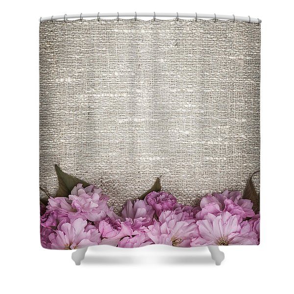 Cherry Blossoms On Linen Shower Curtain by Elena Elisseeva