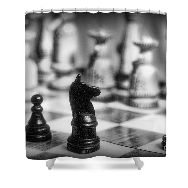 Chess Game in black and white Shower Curtain by Paul Ward