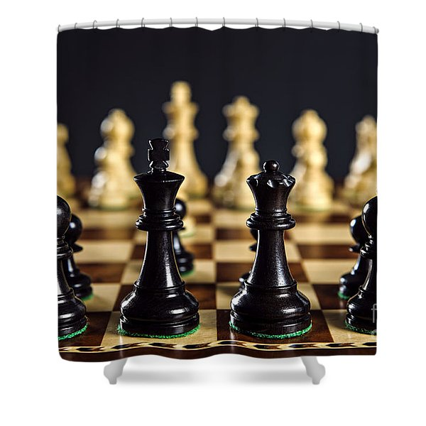 Chess Pieces On Board Shower Curtain by Elena Elisseeva