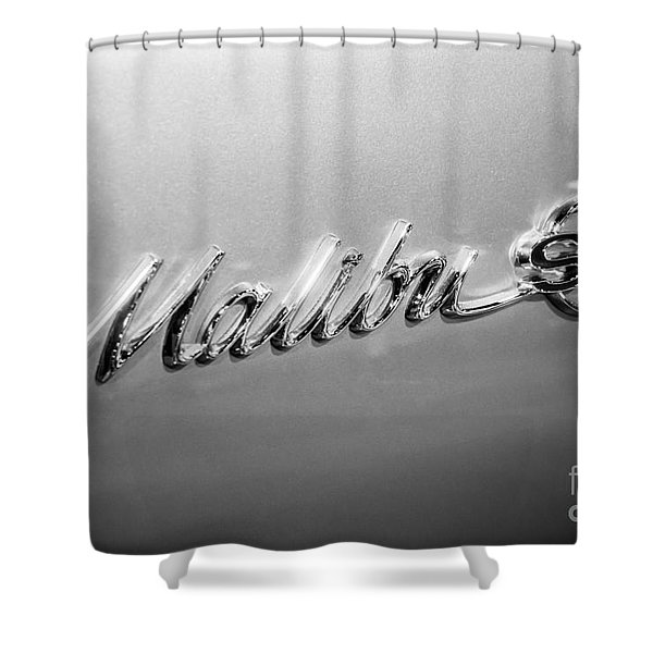 Chevrolet Malibu SS Emblem Black and White Picture Shower Curtain by Paul Velgos