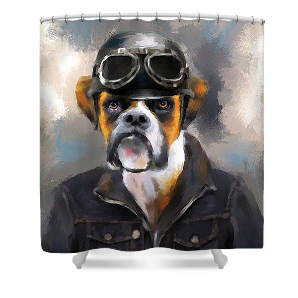 Chic Boxer Aviator Shower Curtain by Jai Johnson