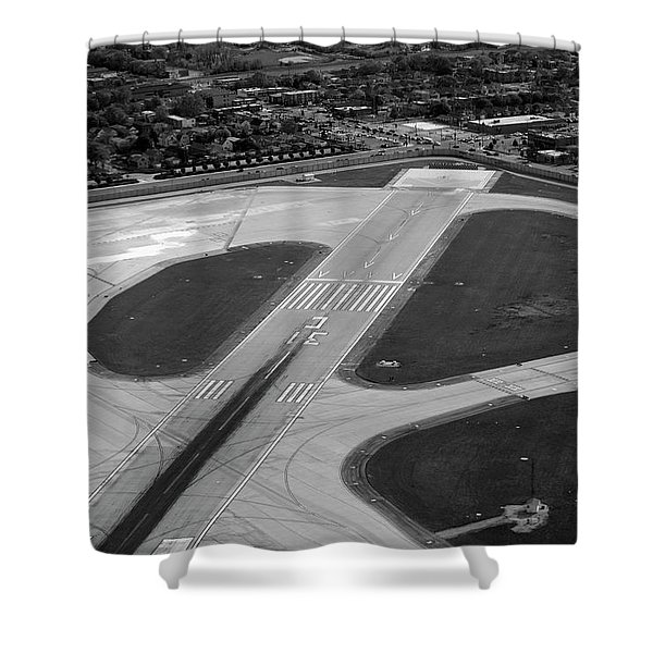 Chicago AirPlanes 04 Black and White Shower Curtain by Thomas Woolworth
