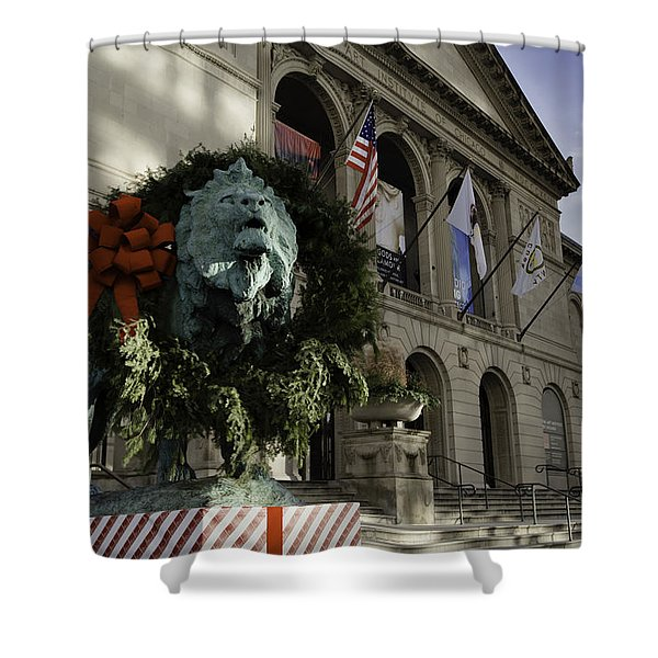 Chicago Art Institute Guardian Shower Curtain by Sebastian Musial