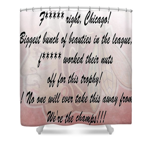 Chicago Blackhawks Crawford's Speech Shower Curtain by Dan Sproul