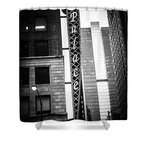 Chicago Cadillac Palace Theatre Sign In Black And White Shower Curtain by Paul Velgos