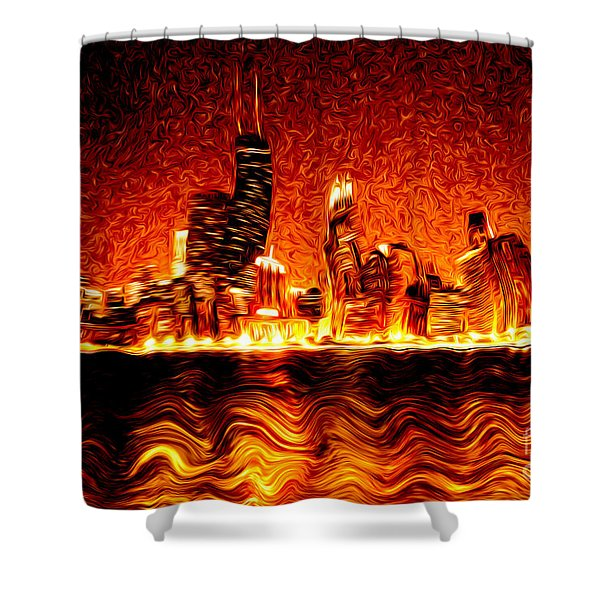 Chicago Hell Digital Painting Shower Curtain by Paul Velgos