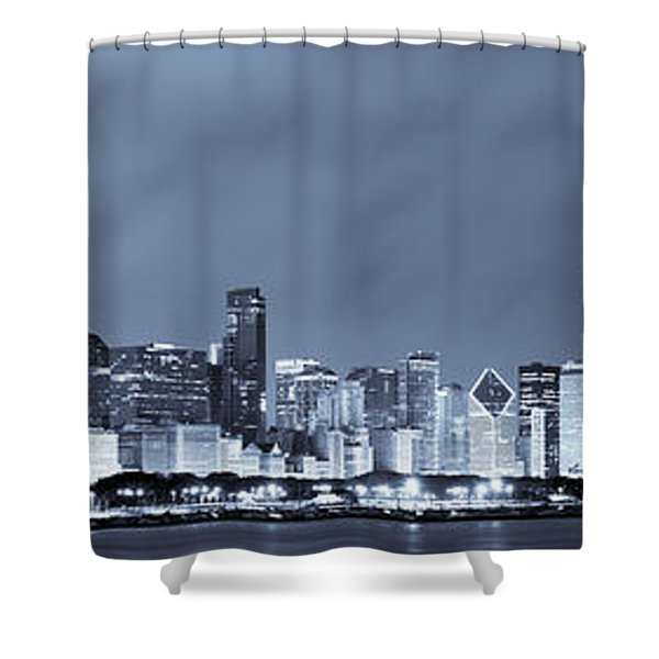 Chicago in Blue Shower Curtain by Sebastian Musial