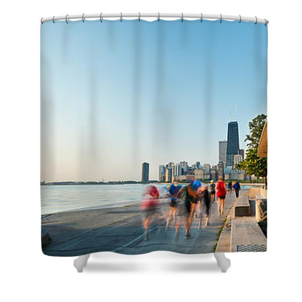 Chicago Lakefront Panorama Shower Curtain by Steve Gadomski