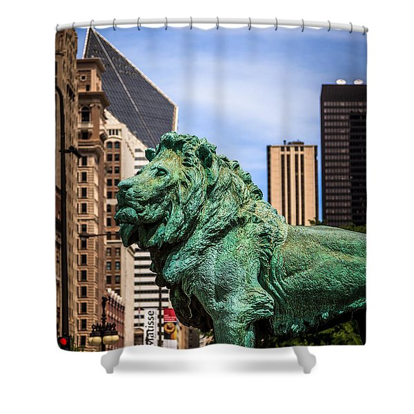 Chicago Lion Statues at the Art Institute Shower Curtain by Paul Velgos