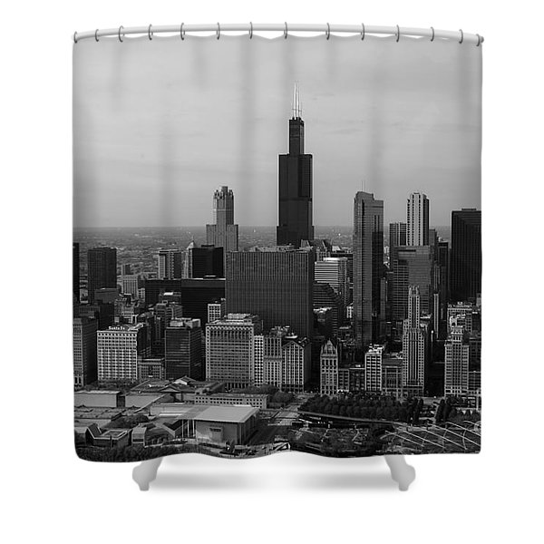 Chicago Looking West 01 Black and White Shower Curtain by Thomas Woolworth
