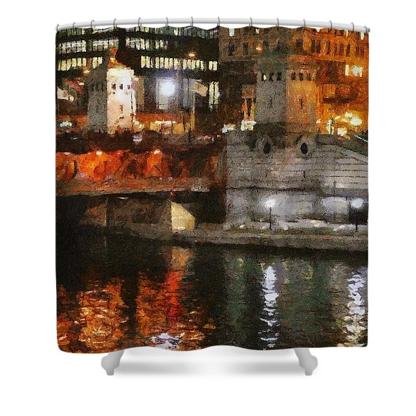 Chicago River at Michigan Avenue Shower Curtain by Jeff Kolker