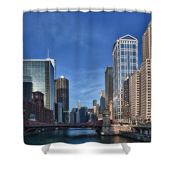 Chicago River Shower Curtain by Sebastian Musial