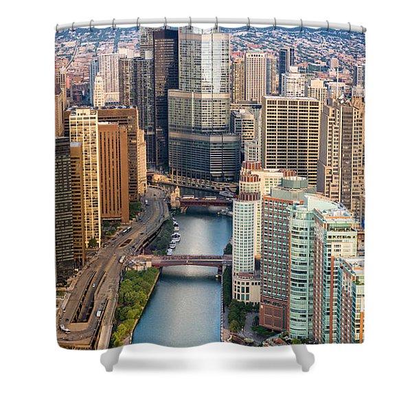 Chicago River Sunrise Shower Curtain by Steve Gadomski