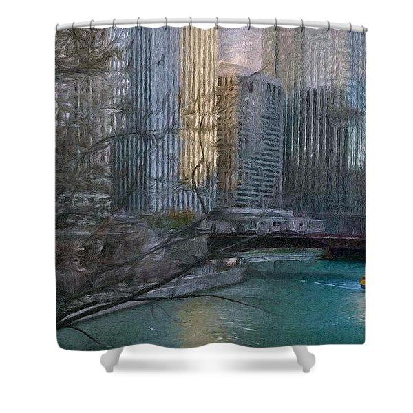 Chicago River Sunset Shower Curtain by Jeff Kolker