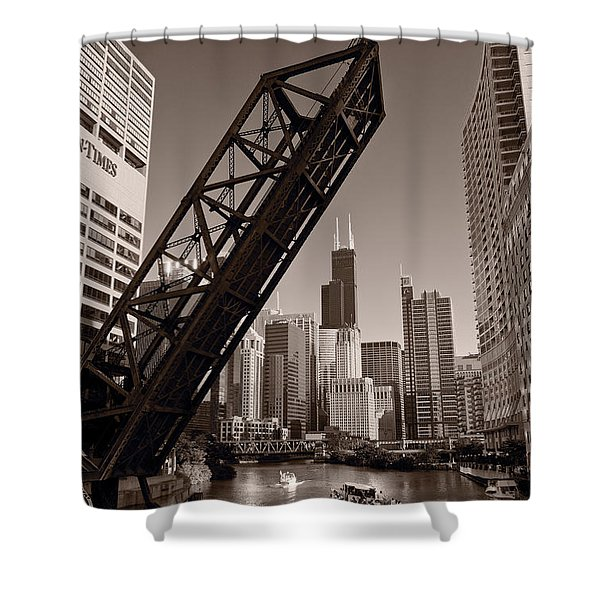 Chicago River Traffic BW Shower Curtain by Steve Gadomski