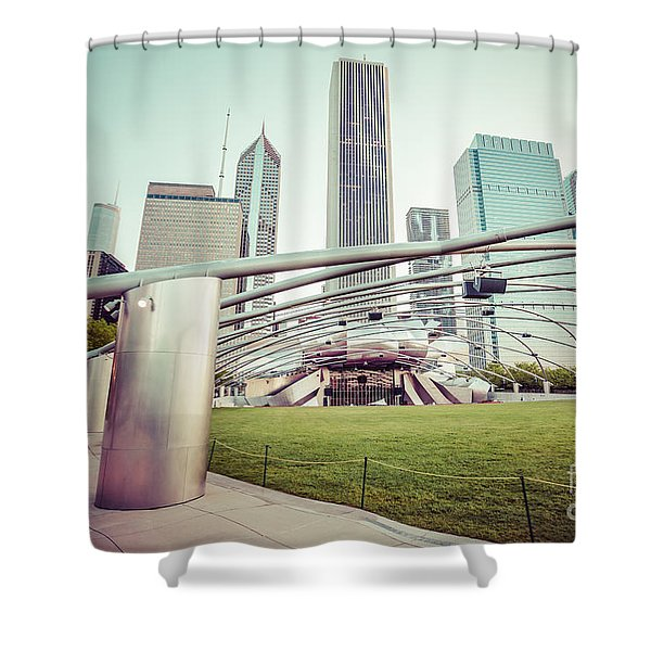Chicago Skyline with Pritzker Pavilion Vintage Picture Shower Curtain by Paul Velgos