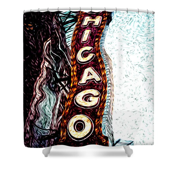 Chicago Theatre Sign Digital Art Shower Curtain by Paul Velgos