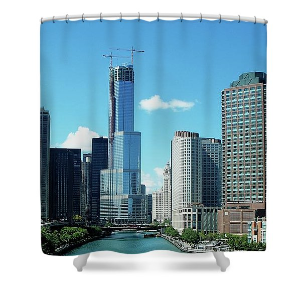 Chicago Trump Tower Under Construction Shower Curtain by Thomas Woolworth
