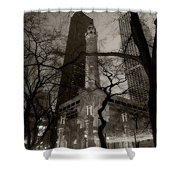 Chicago Water Tower B W Shower Curtain by Steve Gadomski