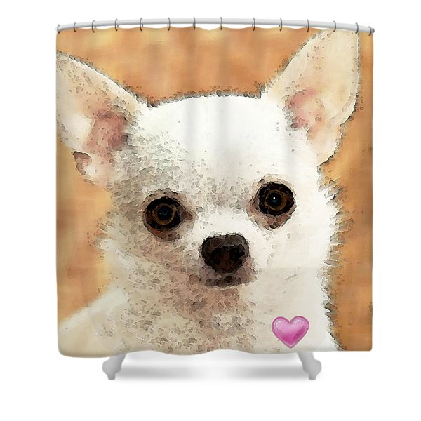 Chihuahua Dog Art - Big Heart Shower Curtain by Sharon Cummings