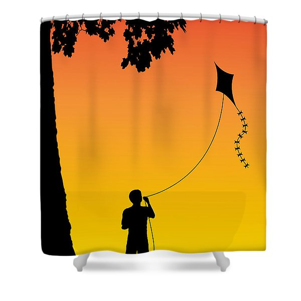 Childhood dreams 1 The Kite Shower Curtain by John Edwards