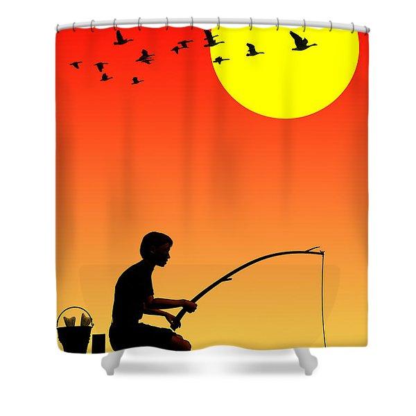 Childhood Dreams 3 Fishing Shower Curtain by John Edwards