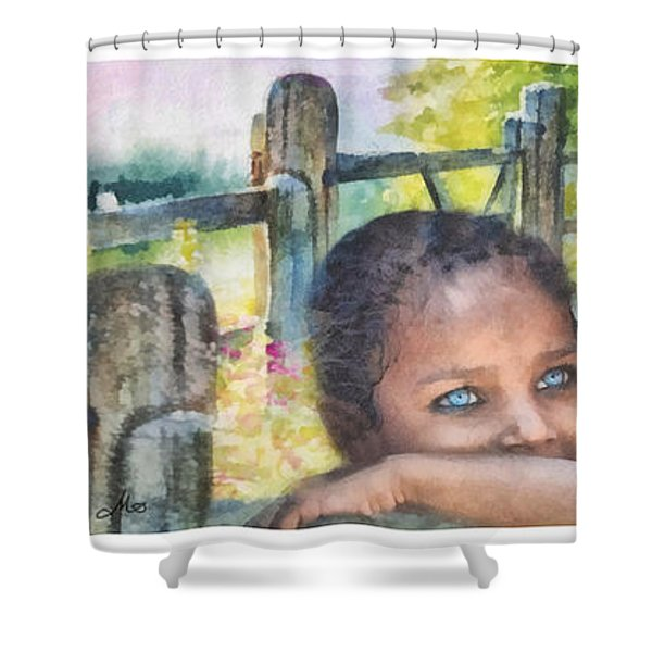 Childhood Triptic Shower Curtain by Mo T