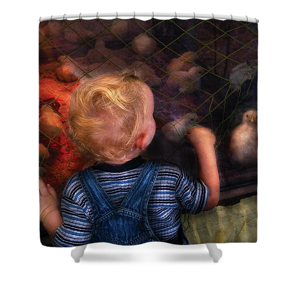 Children - Look At The Baby Shower Curtain by Mike Savad