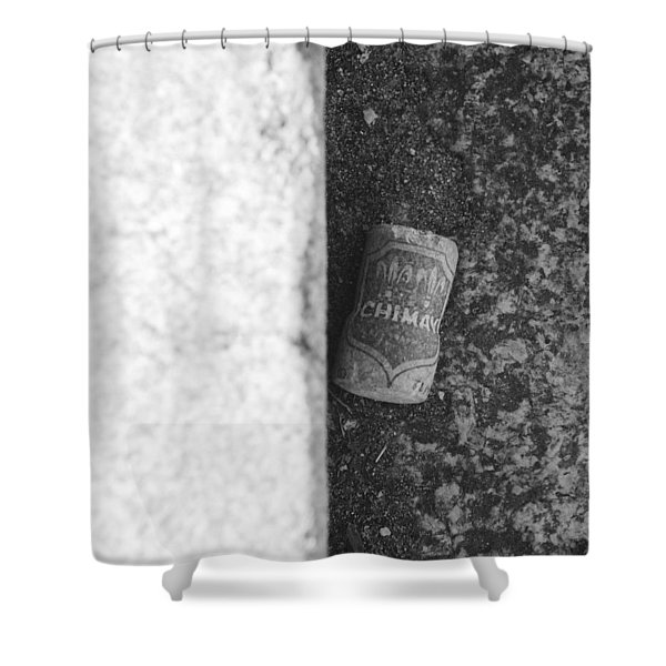 CHIMAY WINE CORK in BLACK AND WHITE Shower Curtain by ROB HANS