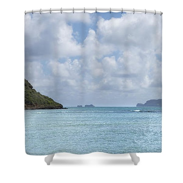 Chinamans Hat Panorama - Oahu Hawaii Shower Curtain by Brian Harig