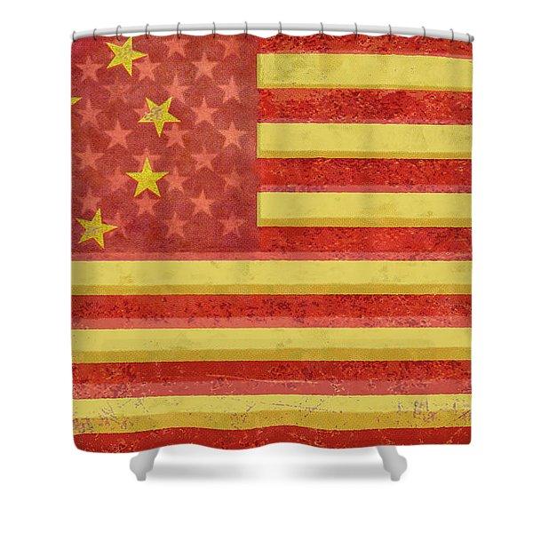 Chinese American Flag Blend Shower Curtain by Tony Rubino