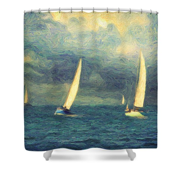Chios Shower Curtain by Taylan Soyturk