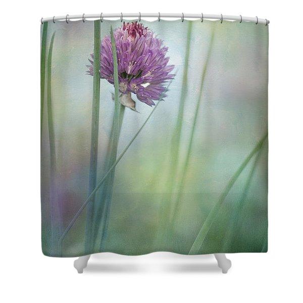 Chive garden Shower Curtain by Priska Wettstein