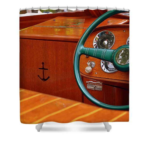 Chris Craft Cockpit Shower Curtain by Michelle Calkins