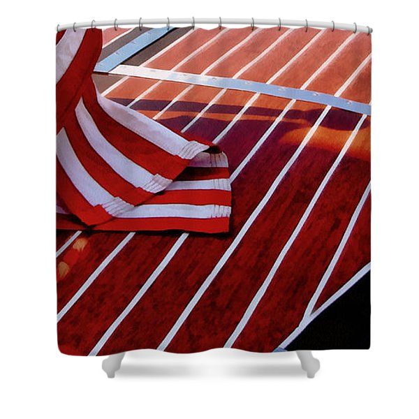Chris Craft with American Flag Shower Curtain by Michelle Calkins