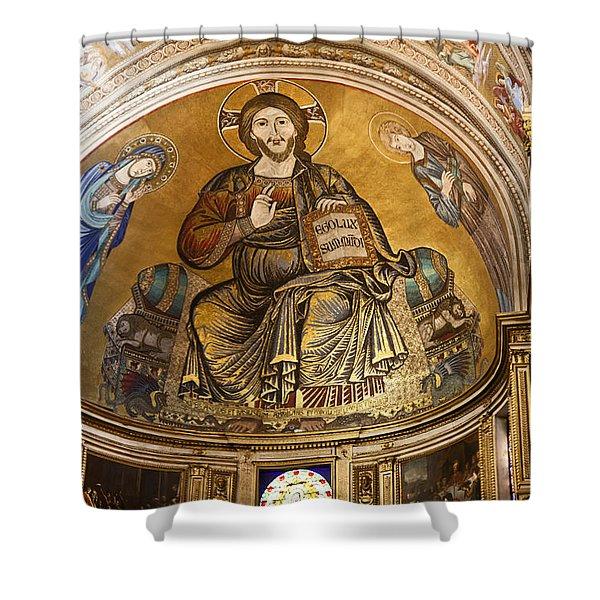 Christ in Majesty  Pisa duomo Shower Curtain by Liz Leyden