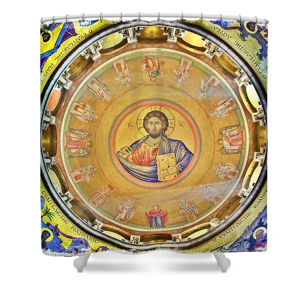 Christ Pantocrator -- Church Of The Holy Sepulchre Shower Curtain by Stephen Stookey