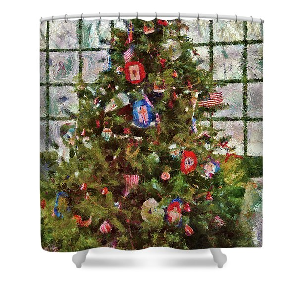 Christmas - An American Christmas Shower Curtain by Mike Savad