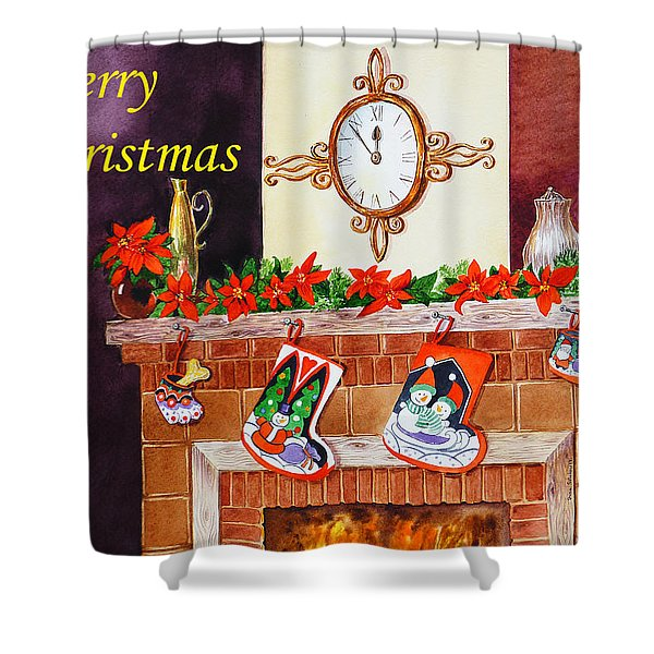 Christmas Card Shower Curtain by Irina Sztukowski