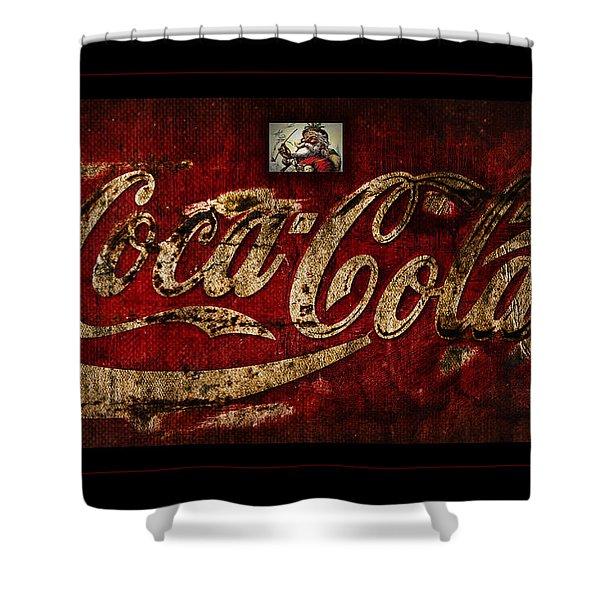 Christmas Coca Cola 1881 Santa Shower Curtain by John Stephens