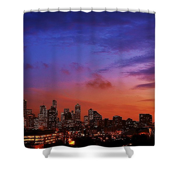 Christmas In Seattle Shower Curtain by Benjamin Yeager