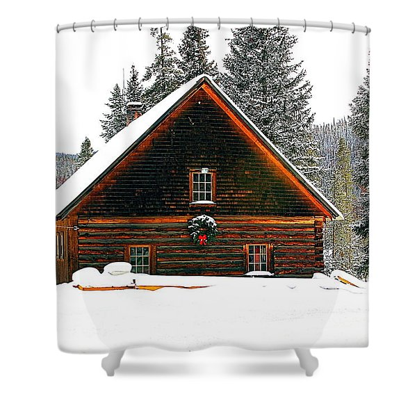Christmas In The Rockies Shower Curtain by Steven Reed