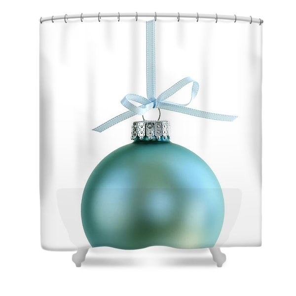 Christmas Ornament On White Shower Curtain by Elena Elisseeva