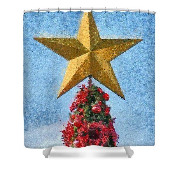 Christmas tree Shower Curtain by George Atsametakis