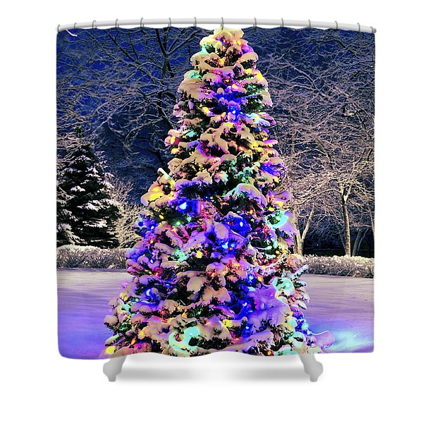 Christmas tree in snow Shower Curtain by Elena Elisseeva