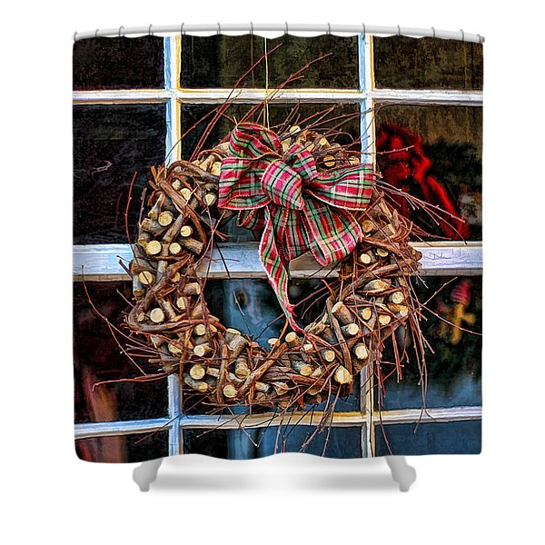 Christmas Wreath Shower Curtain by Darren Fisher