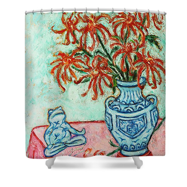 Chrysanthemum and Frog Shower Curtain by Xueling Zou