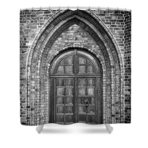 Church Door Monochromatic Shower Curtain by Antony McAulay