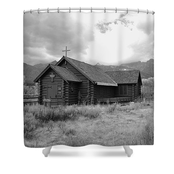 Church In Black And White Shower Curtain by Kathleen Struckle